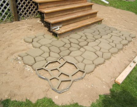 Building a patio with stenciled cement